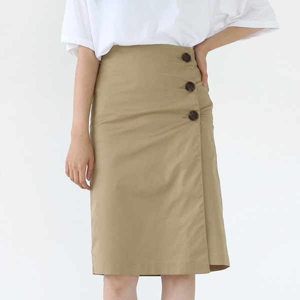 66GIRLSButtoned Asymmetrical Hem Skirt