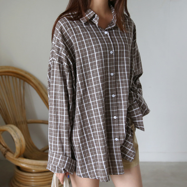 66GIRLSDrop Shoulder Check Shirt