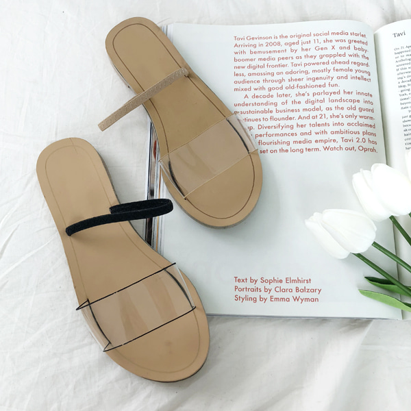66GIRLSTransparent Strap Slide Sandals