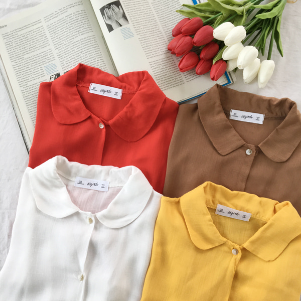 66GIRLSButton-Up Club Collar Blouse