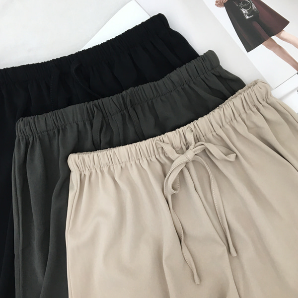66GIRLSElastic Waistband Wide Leg Pants