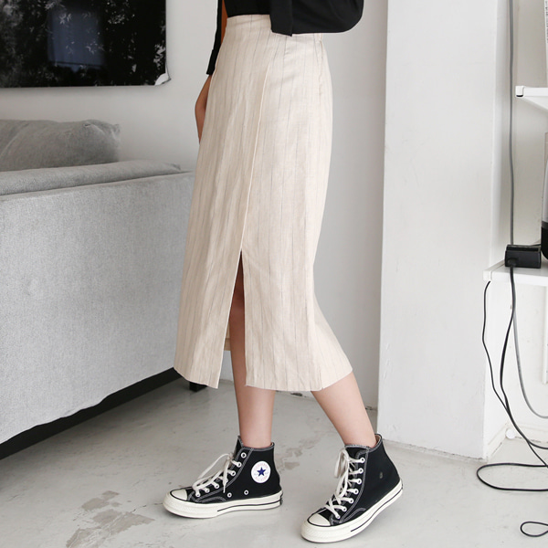 Slit Hem Stripe Skirt