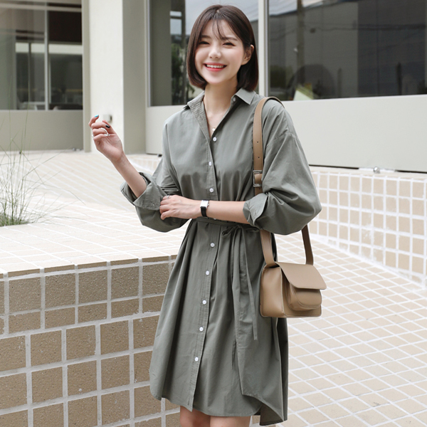 Self-Tie Strap Shirt Dress
