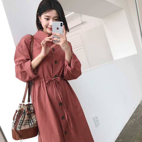 Button-Up Collared Trench Dress
