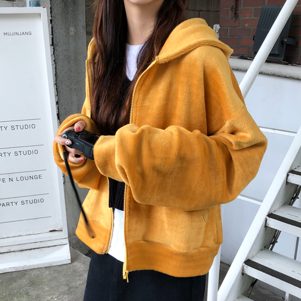 Loose Fit Zip-Up Hoodie