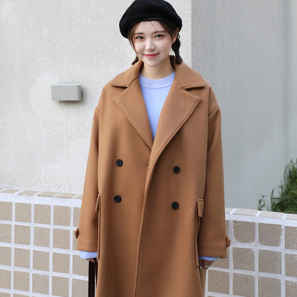 Double Breasted Flap Pocket Coat
