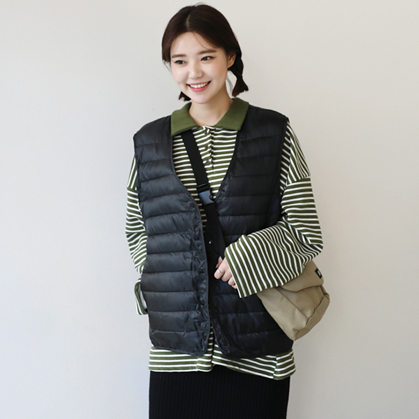 Snap Button V-Neck Puffer Vest