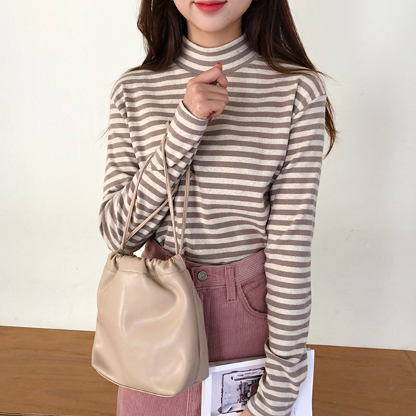 Turtleneck Stripe T-Shirt