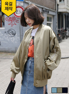 66GIRLSPleated Back Bomber Jacket