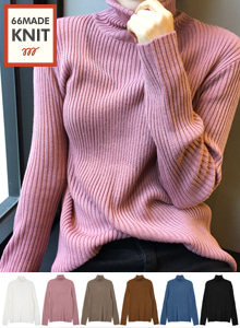 66GIRLSTurtleneck Ribbed Knit Top