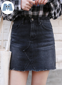 66GIRLSRaw Hem Washed Denim Skirt