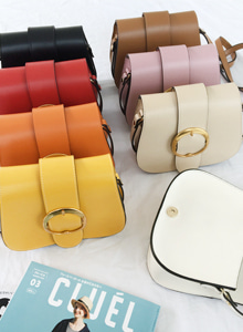 66GIRLSRound Buckled Flap Over Crossbody Bag