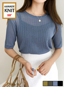 66GIRLSRound Neck Half Sleeve Ribbed Knit Top