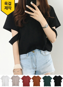 66GIRLSCutout Sleeve Round Neck T-Shirt
