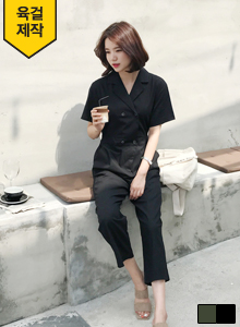 66GIRLSModern Double-Breasted Notched Collar Jumpsuit