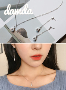 66GIRLSEmbellished Drop Earrings and Necklace Set