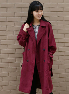 66GIRLSDouble Breasted Loose Fit Trench Coat
