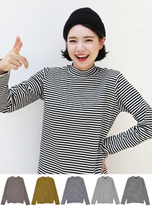 66GIRLSMock Neck Stripe T-Shirt