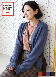 66GIRLSPatch Pocket Extended Sleeve Cardigan