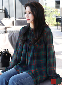 66GIRLSShirred Check Blouse