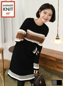 66GIRLSRibbed Stripe Dress