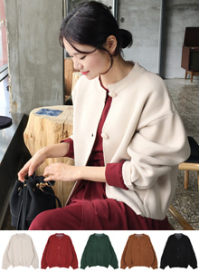 66GIRLSRound Neck Drop Shoulder Cardigan