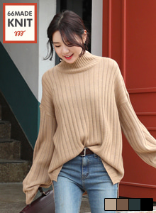 66GIRLSMock Neck Ribbed Loose Fit Knit Top