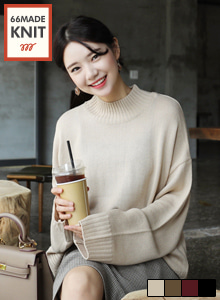 66GIRLSMock Neck Loose Fit Knit Top