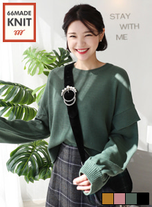 66GIRLSSolid-Tone Balloon Sleeve Knit Top