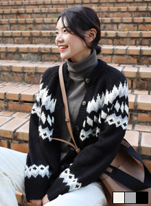 66GIRLSPatterned Knit Cardigan