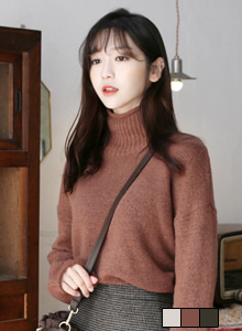 66GIRLSTurtleneck Loose Fit Knit Top