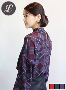 66GIRLSBalloon Sleeve Check Blouse