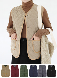 66GIRLSPocket Detail V-Neck Quilted Vest