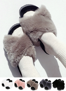 66GIRLSCross Angora Strap Slider Sandals