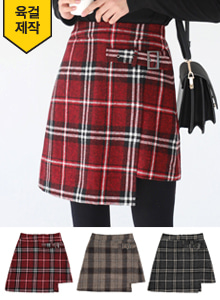 66GIRLSBuckled Asymmetrical Hem Check Skirt