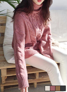66GIRLSTurtleneck Loose Fit Cable Knit Top