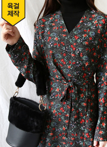 66GIRLSSurplice Neck Floral Print Wrap Dress