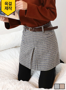 66GIRLSInverted Pleat Belted Check Skirt