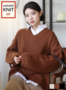66GIRLSV-Neck Wide Sleeve Loose Fit Knit Top