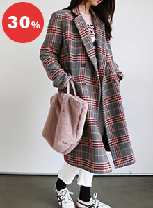 66GIRLSQuilted Lining Check Coat