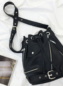 66GIRLSBuckled Zip Detail Bucket Bag