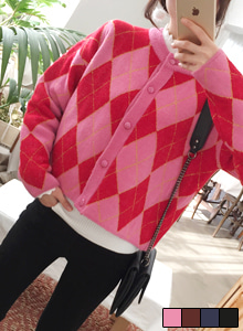 66GIRLSLoose Fit Argyle Cardigan