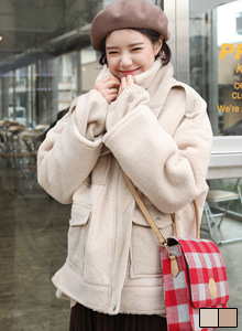 66GIRLSSnap Button Collar Corrugated Loose Fit Jacket