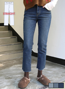 66GIRLSStraight Cut Raw Hem Jeans