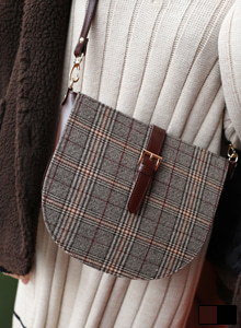 66GIRLSBuckled Check Half Moon Crossbody Bag