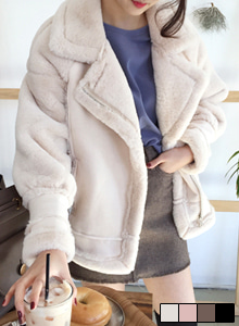66GIRLSOff Center Zip Up Loose Fit Faux Shearling Jacket
