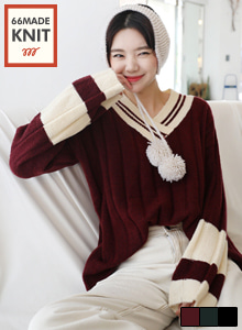 66GIRLSV-Neck Ribbed Color Block Knit Top