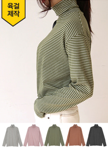 66GIRLSTurtleneck Extended Sleeve Stripe T-Shirt