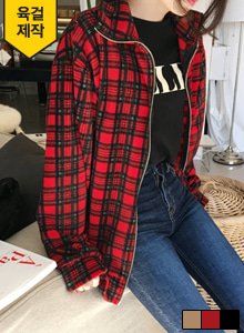 66GIRLSLoose Fit Check Zip-Up Jacket
