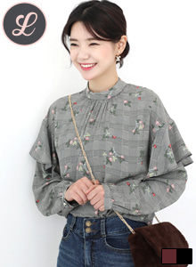 66GIRLSSmock Neck Floral Print Ruffle Check Blouse